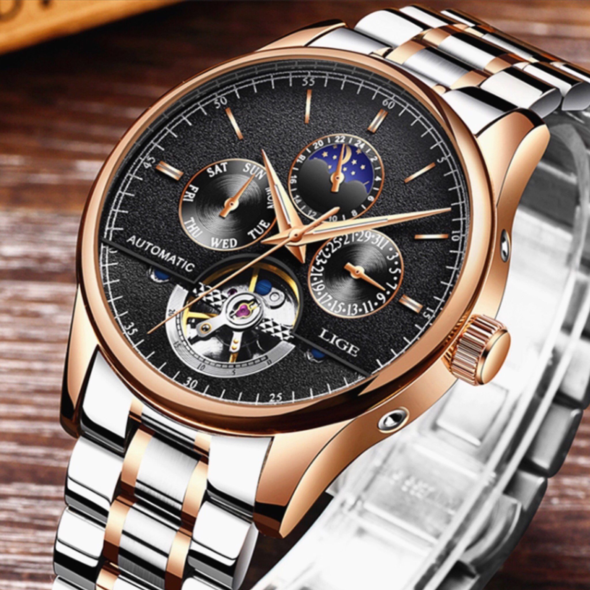 boxed watches mens watch stainless new executive bracelet itm steel black lige chronograph
